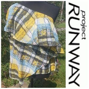 Project Runway plaid one shoulder ruffle blouse